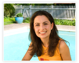 smiling woman by pool